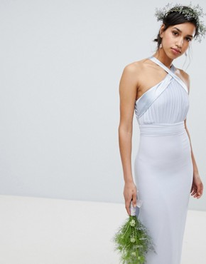 photo Bow Back Pleated Maxi Bridesmaid Dress by TFNC, color Ice - Image 2