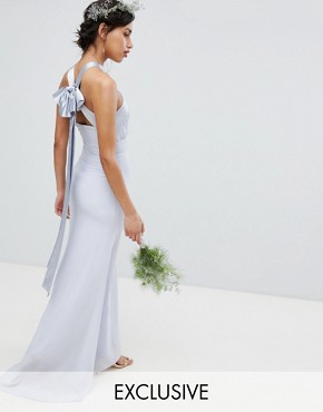 photo Bow Back Pleated Maxi Bridesmaid Dress by TFNC, color Ice - Image 1