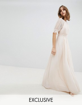 photo Pleated Maxi Bridesmaid Dress with Spot Mesh Frill Detail by TFNC, color Nude - Image 1