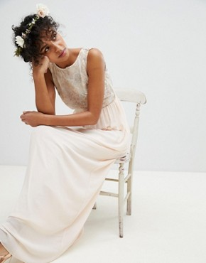 photo Maxi Bridesmaid Dress with Soft Floral Sequin Top by TFNC, color Nude - Image 1