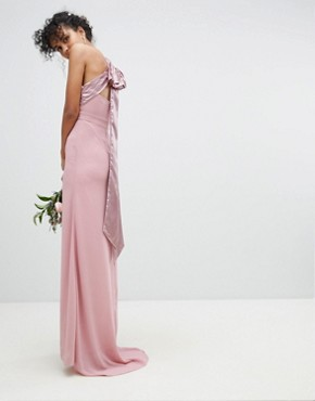 photo Bow Back Pleated Maxi Bridesmaid Dress by TFNC, color Vintage Rose - Image 2