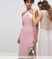 photo Bow Back Pleated Maxi Bridesmaid Dress by TFNC, color Vintage Rose - Image 1