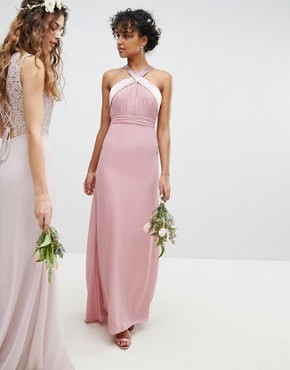 photo Bow Back Pleated Maxi Bridesmaid Dress by TFNC, color Vintage Rose - Image 4