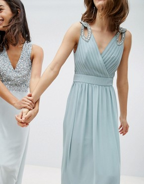 photo Wrap Front Maxi Bridesmaid Dress with Embellishment by TFNC, color Green Lily - Image 2