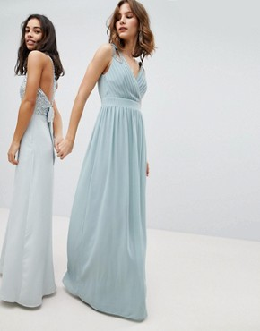 photo Wrap Front Maxi Bridesmaid Dress with Embellishment by TFNC, color Green Lily - Image 1