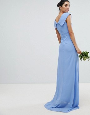 photo Bardot Maxi Bridesmaid Dress with Fishtail and Embellished Waist by TFNC, color Bluebell - Image 2