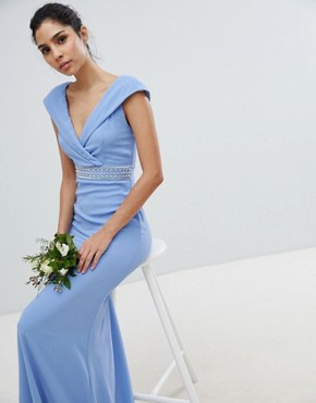 photo Bardot Maxi Bridesmaid Dress with Fishtail and Embellished Waist by TFNC, color Bluebell - Image 1
