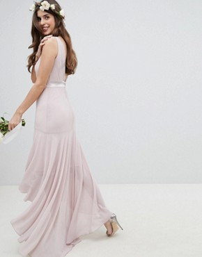 photo Maxi Bridesmaid Dress with High Low Hem by TFNC, color Mink - Image 2