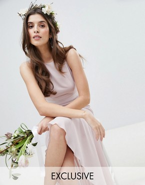 photo Maxi Bridesmaid Dress with High Low Hem by TFNC, color Mink - Image 1