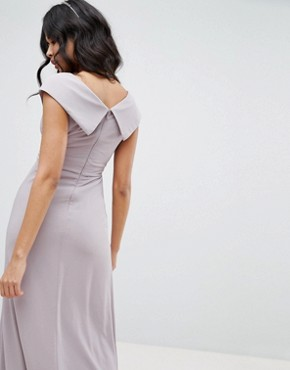 photo Bardot Maxi Bridesmaid Dress with Fishtail and Embellished Waist by TFNC, color Grey - Image 2