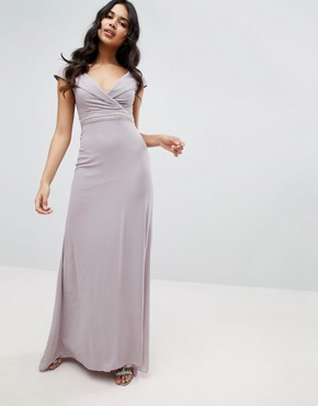 photo Bardot Maxi Bridesmaid Dress with Fishtail and Embellished Waist by TFNC, color Grey - Image 1