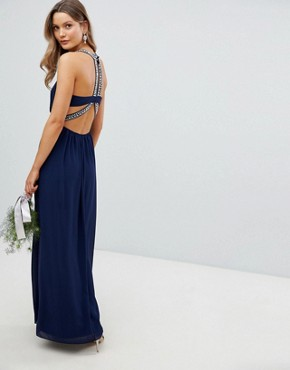 photo Embellished Back Detail Maxi Bridesmaid Dress by TFNC, color Navy - Image 1