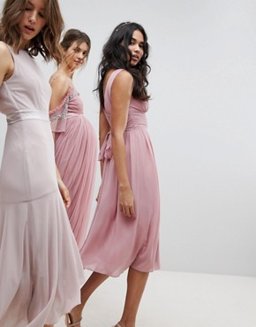 photo Wrap Front Midi Bridesmaid Dress with Tie Back by TFNC, color Vintage Rose - Image 2