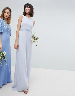 photo Sateen Bow Back Maxi Bridesmaid Dress by TFNC, color Ice - Image 2