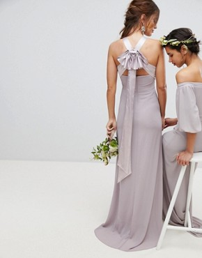 photo Bow Back Pleated Maxi Bridesmaid Dress by TFNC, color Grey - Image 2