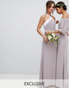 photo Bow Back Pleated Maxi Bridesmaid Dress by TFNC, color Grey - Image 1