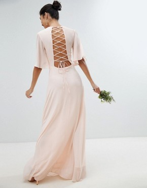 photo Lace Up Back Maxi Bridesmaid Dress with Flutter Sleeve by TFNC, color Nude - Image 2
