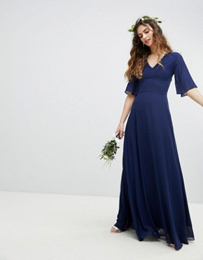 photo Lace Up Back Maxi Bridesmaid Dress with Flutter Sleeve by TFNC, color Navy - Image 2