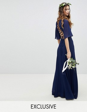 photo Lace Up Back Maxi Bridesmaid Dress with Flutter Sleeve by TFNC, color Navy - Image 1