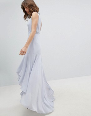 photo Maxi Bridesmaid Dress with High Low Hem by TFNC, color Ice - Image 2