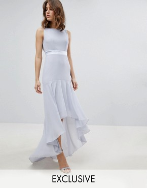 photo Maxi Bridesmaid Dress with High Low Hem by TFNC, color Ice - Image 1