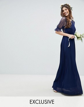 photo Pleated Maxi Bridesmaid Dress with Spot Mesh Frill Detail by TFNC, color Navy - Image 1