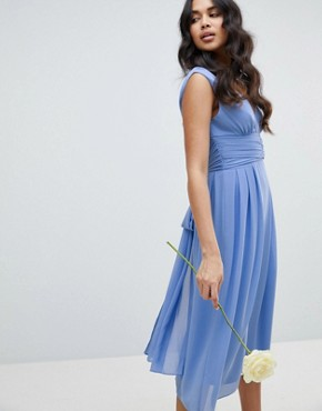 photo Wrap Front Midi Bridesmaid Dress with Tie Back by TFNC, color Bluebell - Image 2