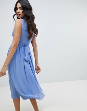 photo Wrap Front Midi Bridesmaid Dress with Tie Back by TFNC, color Bluebell - Image 1