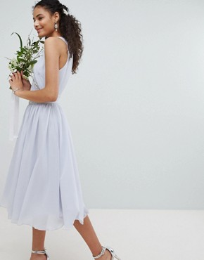 photo Embellished Midi Bridesmaid Dress with Full Skirt by TFNC, color Ice - Image 2
