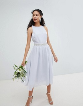 photo Embellished Midi Bridesmaid Dress with Full Skirt by TFNC, color Ice - Image 1