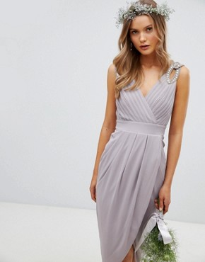 photo Wrap Midi Bridesmaid Dress with Embellished Shoulder by TFNC, color Grey - Image 1