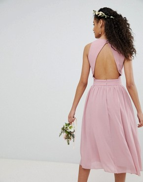 photo Embellished Midi Bridesmaid Dress with Full Prom Skirt by TFNC, color Vintage Rose - Image 2