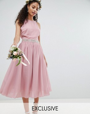 photo Embellished Midi Bridesmaid Dress with Full Prom Skirt by TFNC, color Vintage Rose - Image 1