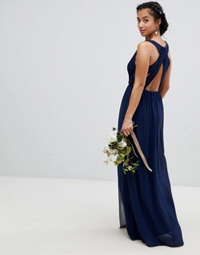 photo Pleated Maxi Bridesmaid Dress with Back Detail by TFNC Petite, color Navy - Image 2