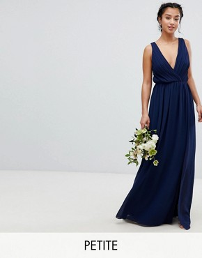 photo Pleated Maxi Bridesmaid Dress with Back Detail by TFNC Petite, color Navy - Image 1