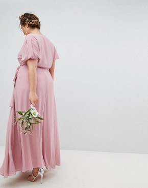 photo Wrap Maxi Bridesmaid Dress with Tie Detail and Puff Sleeves by TFNC Plus, color Vintage Rose - Image 2