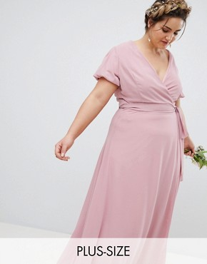 photo Wrap Maxi Bridesmaid Dress with Tie Detail and Puff Sleeves by TFNC Plus, color Vintage Rose - Image 1