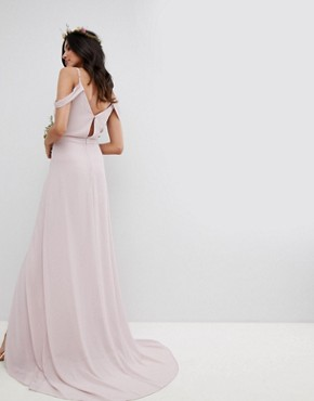 photo Cold Shoulder Wrap Maxi Bridesmaid Dress with Fishtail by TFNC Tall, color Mink - Image 2