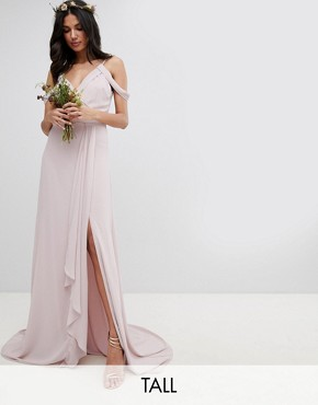 photo Cold Shoulder Wrap Maxi Bridesmaid Dress with Fishtail by TFNC Tall, color Mink - Image 1