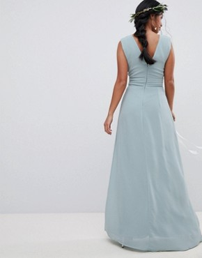 photo Sleeveless Maxi Bridesmaid Dress with Pleated Skirt by TFNC Petite, color Green Lily - Image 2
