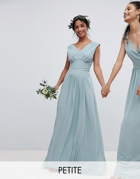 photo Sleeveless Maxi Bridesmaid Dress with Pleated Skirt by TFNC Petite, color Green Lily - Image 1