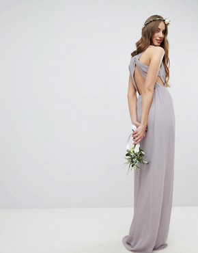 photo Pleated Maxi Bridesmaid Dress with Back Detail by TFNC Tall, color Grey - Image 2
