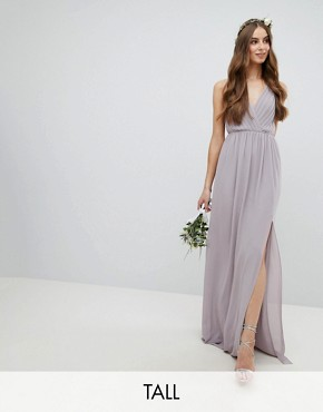 photo Pleated Maxi Bridesmaid Dress with Back Detail by TFNC Tall, color Grey - Image 1
