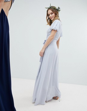 photo Wrap Maxi Bridesmaid Dress with Tie Detail and Puff Sleeves by TFNC Petite, color Ice - Image 2