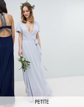 photo Wrap Maxi Bridesmaid Dress with Tie Detail and Puff Sleeves by TFNC Petite, color Ice - Image 1