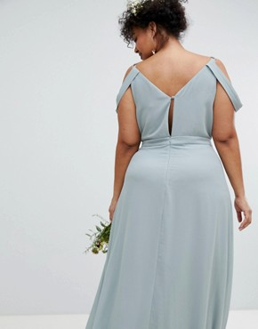 photo Cold Shoulder Wrap Maxi Bridesmaid Dress with Fishtail by TFNC Plus, color Green Lily - Image 2