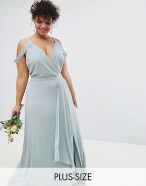 photo Cold Shoulder Wrap Maxi Bridesmaid Dress with Fishtail by TFNC Plus, color Green Lily - Image 1