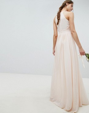 photo Pleated Maxi Bridesmaid Dress by TFNC Tall, color Nude - Image 2