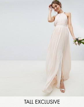 photo Pleated Maxi Bridesmaid Dress by TFNC Tall, color Nude - Image 1