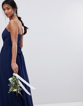 photo Bandeau Maxi Bridesmaid Dress by TFNC Petite, color Navy - Image 2